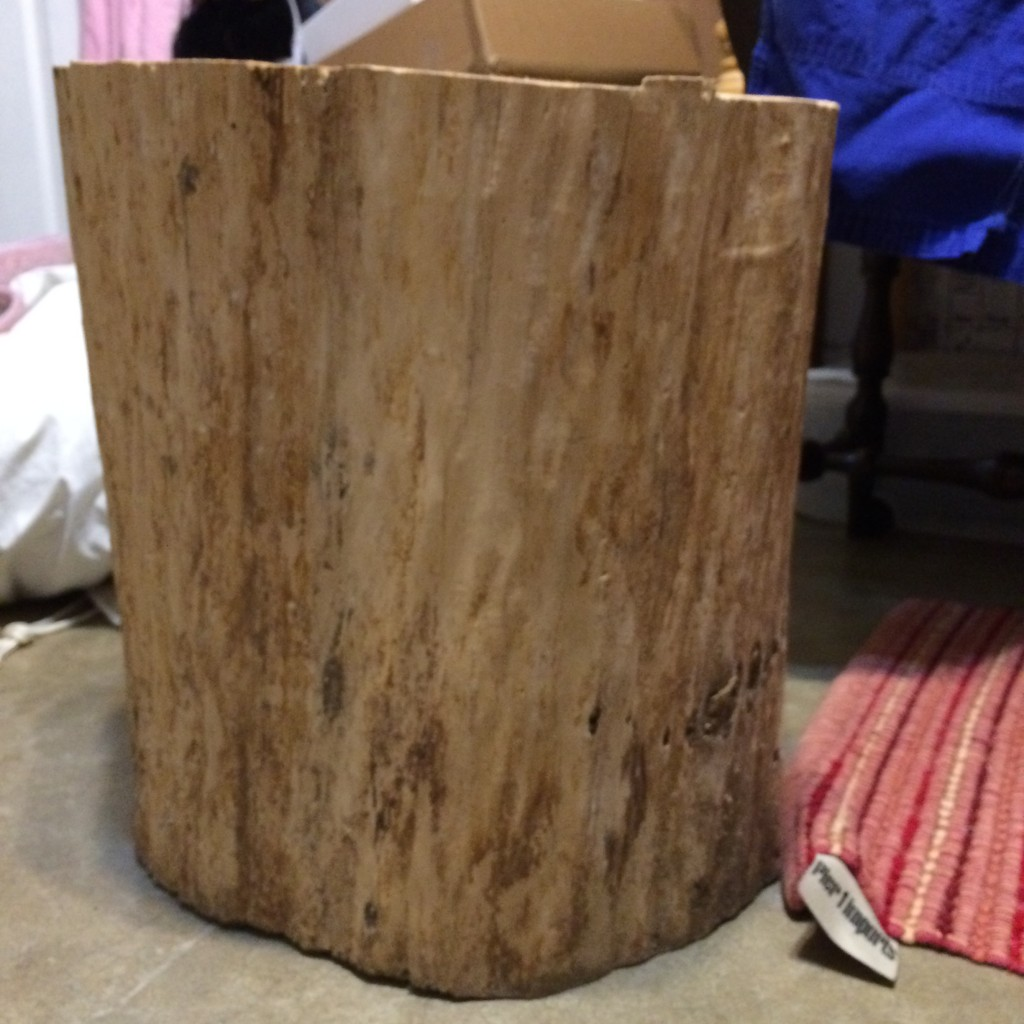 Big natural wood stump will replace the stool in the photo above